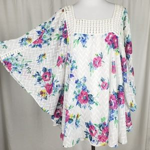 Meadow Rue Floral Treillage Peasant Batwing Blouse